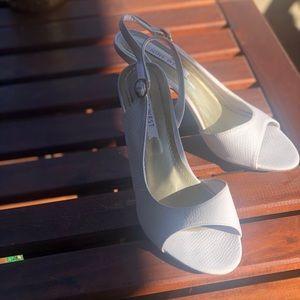 White snake pattern heels